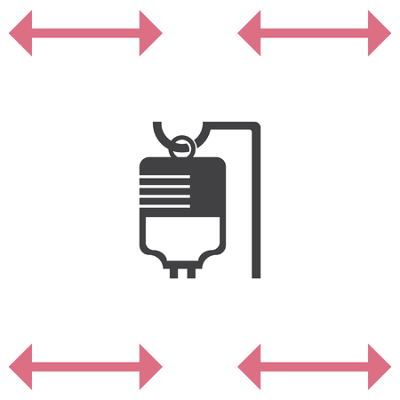 IV bag medical vector icon. Infusion sign
