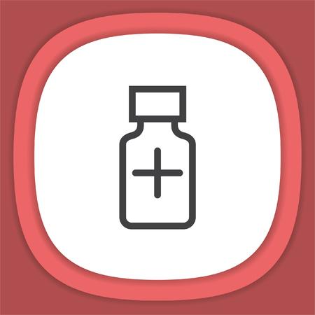 prescription drugs: Medical bottle line vector icon. Pharmacy bottle sign. Illustration