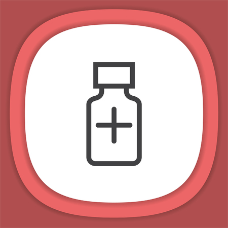 Medical bottle line vector icon. Pharmacy bottle sign. Illustration
