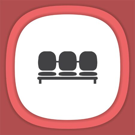 seating area: Airport Seat vector icon. Waiting room chairs symbol. Illustration