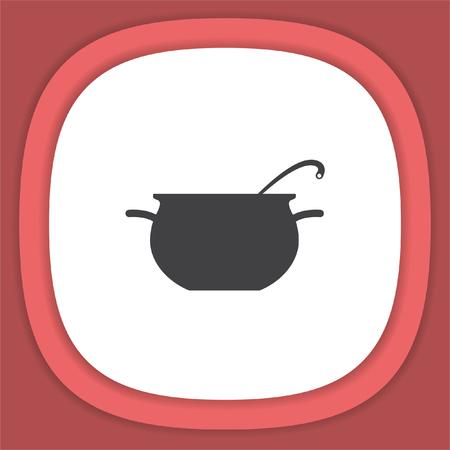 Cooking pot sign line vector icon. Restaurant symbol Illustration