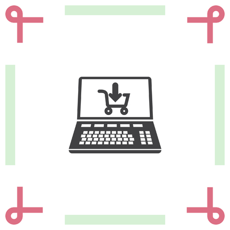 e commerce: On line shopping vector icon. E commerce sign. Web purchase symbol
