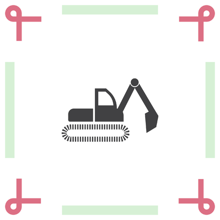 construction vehicle: Dredge vector icon. Bagger sign. Construction vehicle symbol Illustration