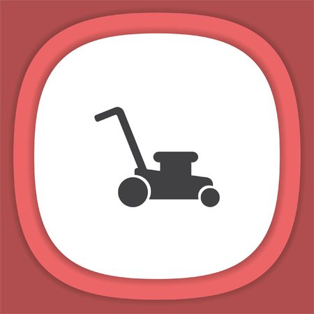 mowing the grass: Mower vector icon. Lawnmower sign