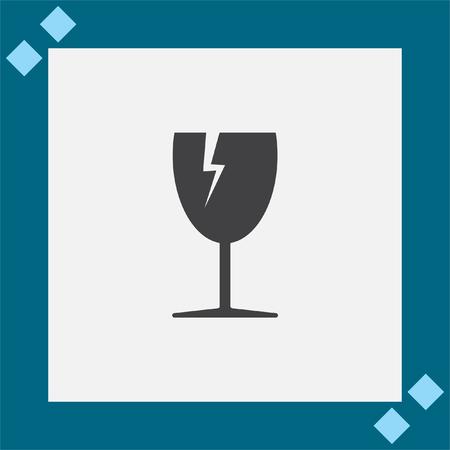 breakable: Fragile transport vector icon. Broken glass sign