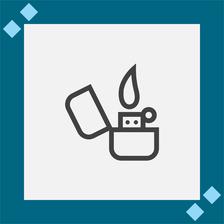 gas lighter: Lighter sign line vector icon