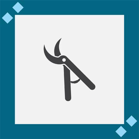 pruning shears: Garden pruner vector icon. Backyard scissors sign