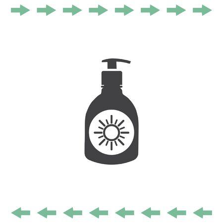Sun lotion vector icon. Skin protection symbol Illustration