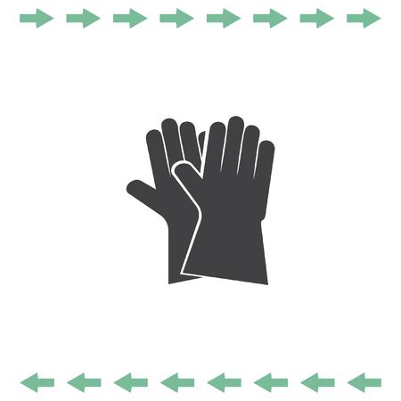 Garden gloves vector icon. Safety symbol Illustration