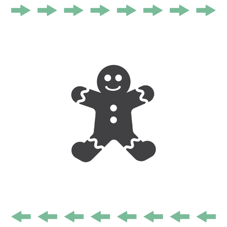 christmas cake: Gingerbread vector icon. Cookie sign Illustration
