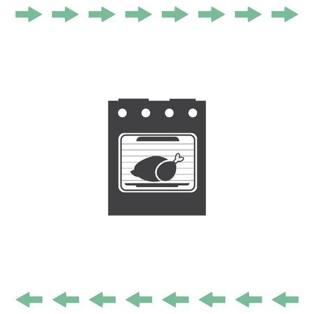 gas stove: Oven vector icon. Kitchen stove sign. Roasting turkey symbol Illustration