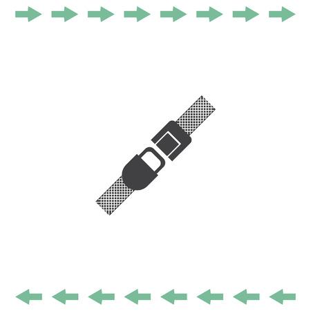 Seat belt vector icon. Safety car device symbol Illustration