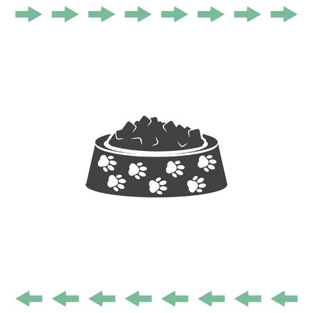 Pet food vector icon. Dog bowl with meal sign. Animal feed symbol