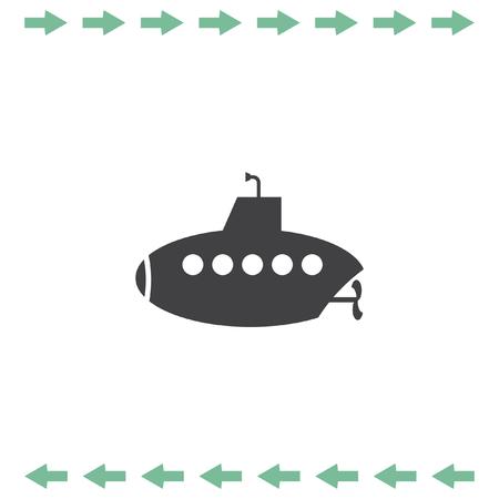 Submarine vector icon. Water exploration symbol
