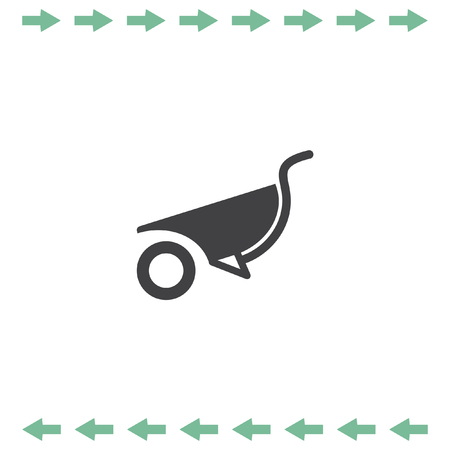 Wheelbarrow vector icon. Construction sign. Gardening symbol Illustration