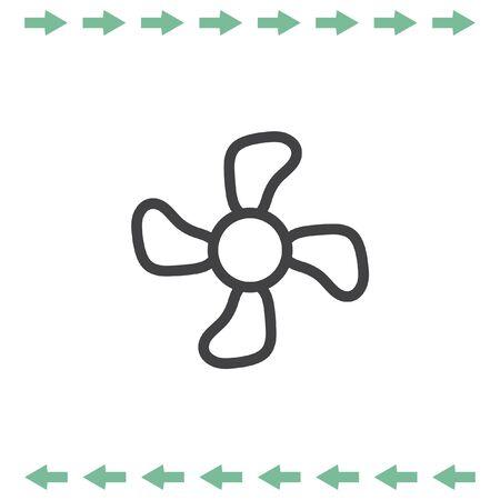 Fan sign line vector icon. Propeller symbol. Illustration
