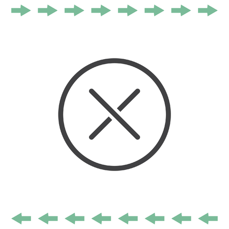 disagree: Cancel vector line icon. Close sign.