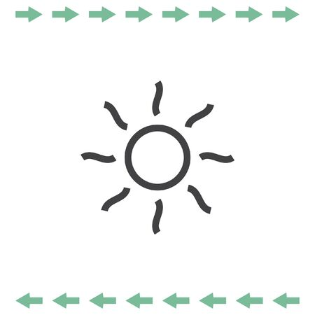 Sun with rays vector icon. Summer symbol. Hot weather pictograph. Illustration