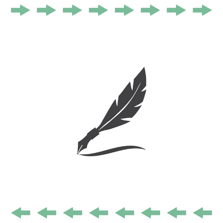 Feather writing vector icon. Letter symbol