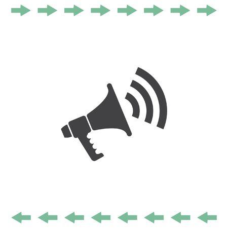 Bullhorn vector icon. Megafoon of luidspreker teken. Kondigen symbool. Vector Illustratie