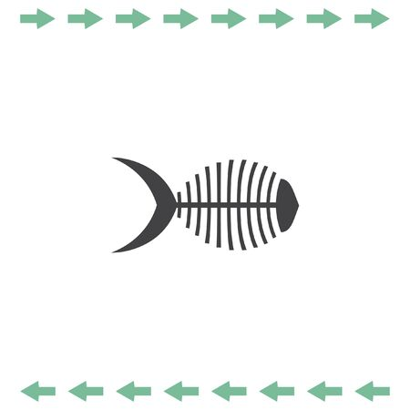 dead fish: Fish bone vector icon