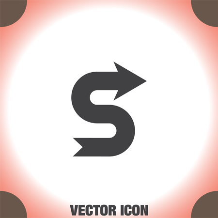 Arrow meandering vector icon. Direction sign Illustration