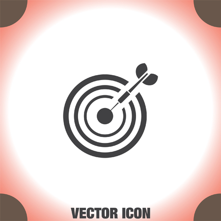 marksman: Target with arrow vector icon. Archery competition and marksman sign. Business goal symbol.