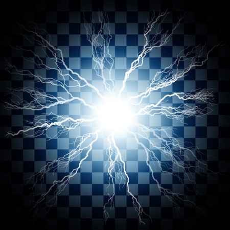 Lightning Flash Light Thunder Spark On Transparent Background Vector Ball Or Electricity Blast Storm