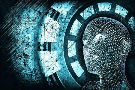 Abstract blue digital human head on dark grunge background. Robotics concept. 3D Rendering