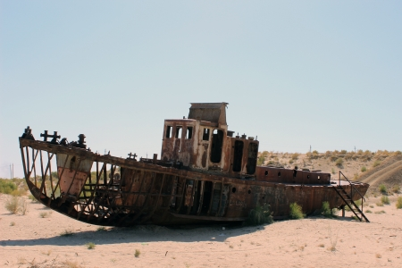 Aral Sea Ecological Disaster - Muynak, Uzbekisan photo