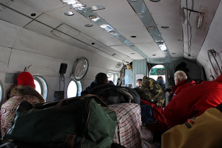 Inside soviet Mi-8 helicopter. Khan Tengri base camp - Kyrgystan Stock Photo - 17069773