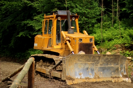 Yellow bulldozer in forest photo