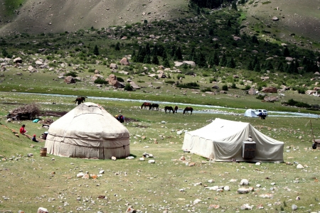 nomadic: Kyrgyz yurt camp in Tien Shan mountains Editorial
