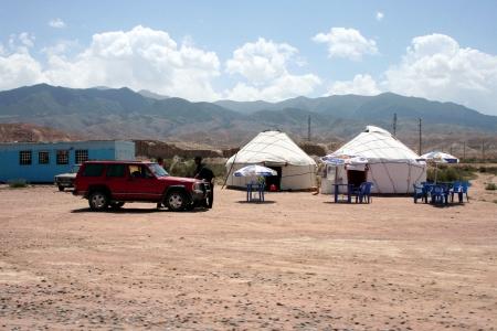 nomadism: Kyrgyzstan yurt camp