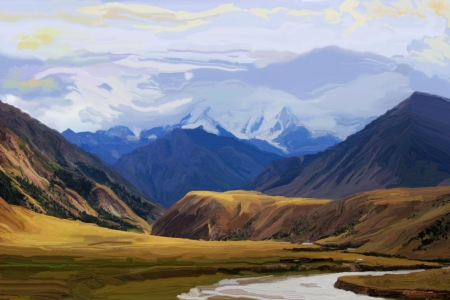 Oil paint - Mountains Stock Photo - 17336273