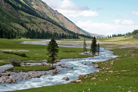 River in Dzhuku Valley, Tien Shan mountains, Kyrgyzstan Stock Photo - 17337512