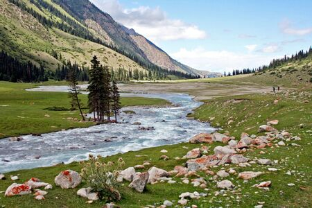 River in Dzhuku Valley, Tien Shan mountains, Kyrgyzstan photo
