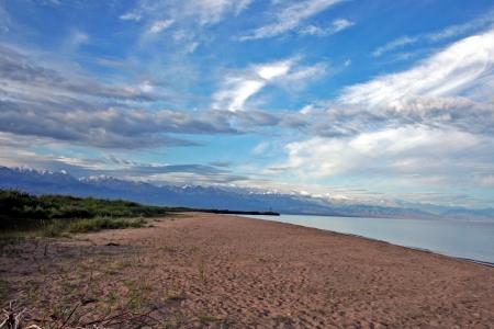 issyk kul: Mountain lake Issyk-Kul, Kyrgyzstan