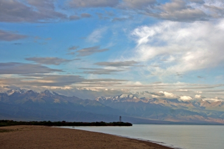 Mountain lake Issyk-Kul, Kyrgyzstan
