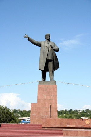 A Soviet-era Lenin statue at a square in Osh, Kyrgyzstan Stock Photo