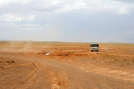Mongol road to Gobi-desert