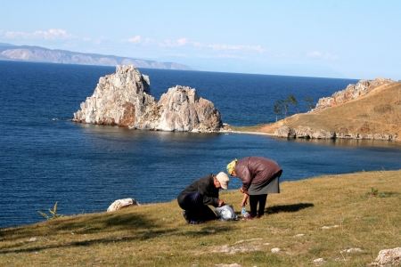 Cape Burkhan in Olkhon island, lake Baikal, Siberia, Russia  photo