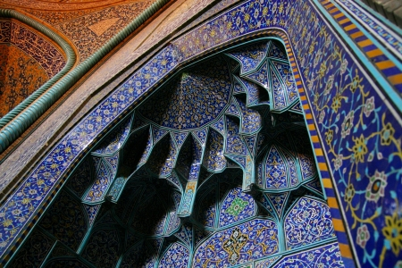 Dome of the mosque, oriental ornaments from Isfahan, Iran  Stock Photo