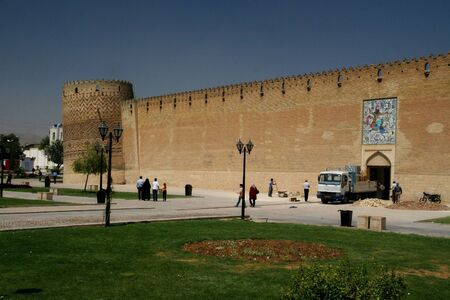 shiraz: city wall and tower in the centre of Shiraz, Iran  Editorial