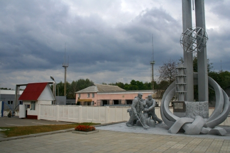 Statues of firefighters in Chernobyl