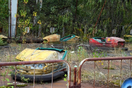 pripyat: Abandoned car in amusement park in Pripyat, Chernobyl area  Editorial