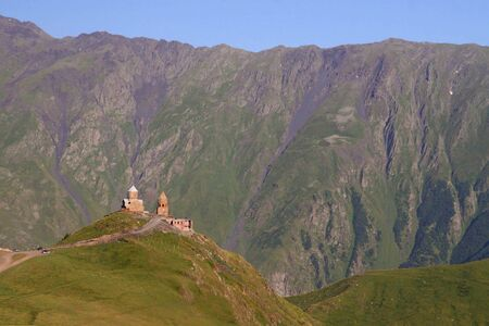 Tsminda Sameba   Holy Trinity Church near the Kazbegi-Gergeti village  photo