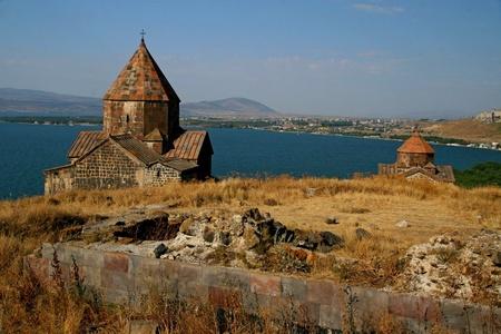 The monastery Sevanavank overlooking Lake Sevan, Armenia  photo