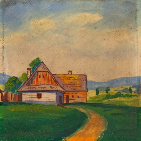 Summer landscape oil painting Stock Photo - 18656343