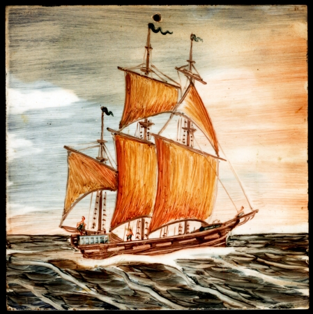 Oil painting of sail ship and sea photo